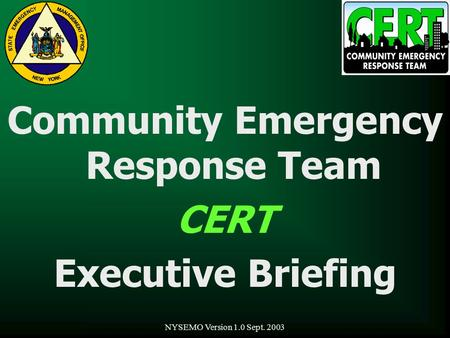 NYSEMO Version 1.0 Sept. 2003 Community Emergency Response Team CERT Executive Briefing.