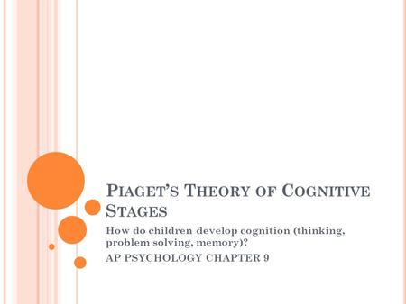 P IAGET ' S T HEORY OF C OGNITIVE S TAGES How do children develop cognition (thinking, problem solving, memory)? AP PSYCHOLOGY CHAPTER 9.