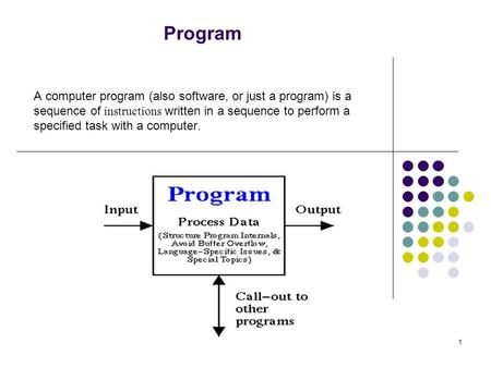 Program A computer program (also software, or just a program) is a sequence of instructions written in a sequence to perform a specified task with a computer.