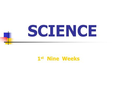 SCIENCE 1 st Nine Weeks. What is Science? …. Science is the discovery of everything around us.