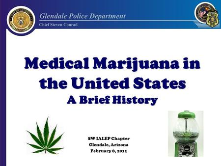 Medical Marijuana in the United States A Brief History SW IALEP Chapter Glendale, Arizona February 8, 2011.