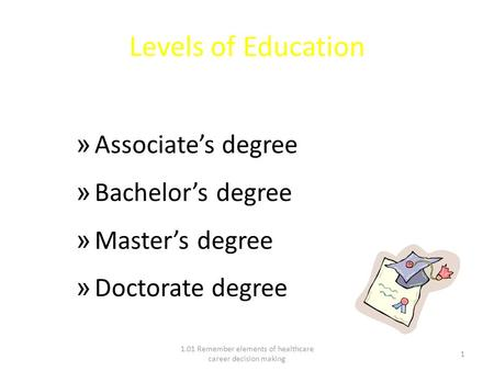 Levels of Education » Associate's degree » Bachelor's degree » Master's degree » Doctorate degree 1.01 Remember elements of healthcare career decision.