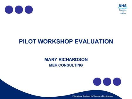 Educational Solutions for Workforce Development PILOT WORKSHOP EVALUATION MARY RICHARDSON MER CONSULTING.