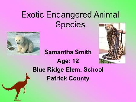 Exotic Endangered <strong>Animal</strong> Species Samantha Smith Age: 12 Blue Ridge Elem. School Patrick County.