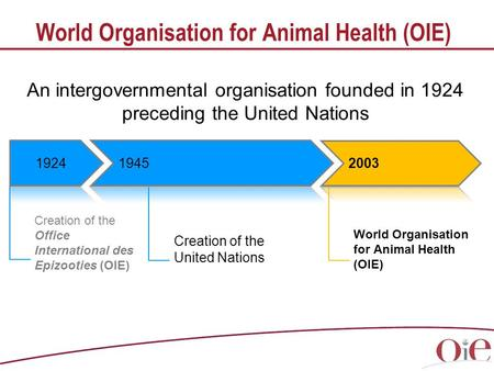 World Organisation for Animal Health (OIE) Creation of the Office International des Epizooties (OIE) World Organisation for Animal Health (OIE) Creation.