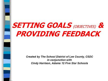 Created by The School District of Lee County, CSDC in conjunction with Cindy Harrison, Adams 12 Five Star Schools SETTING GOALS (OBJECTIVES) & PROVIDING.