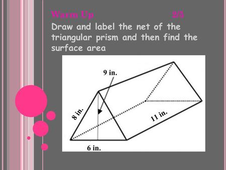 Warm Up 2/5 Draw and label the net of the triangular prism and then find the surface area 9 in. 8 in. 6 in. 11 in.