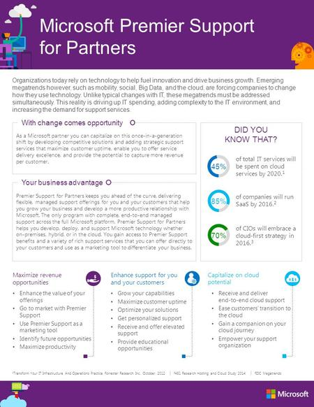 Microsoft Premier Support for Partners Capitalize on cloud potential Receive and deliver end-to-end cloud support Ease customers' transition to the cloud.