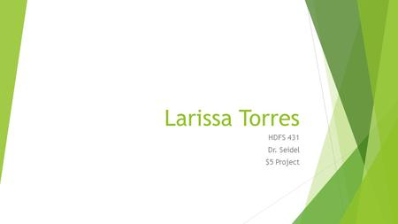 Larissa Torres HDFS 431 Dr. Seidel $5 Project.  Calories 340  Total Fat 5  Cholesterol 0  Sodium 495  Carbohydrates 358  Sugars 16  Protein 11.