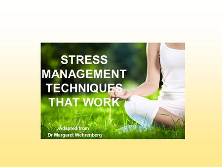 STRESS MANAGEMENT TECHNIQUES THAT WORK Adapted from Dr Margaret Wehrenberg.
