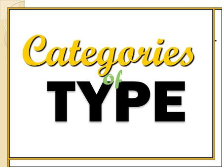 Categories TYPE of Text is the most essential ingredient in design communication. With type you communicate in two distinct ways. The first message your.