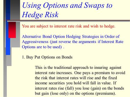Using Options and Swaps to Hedge Risk