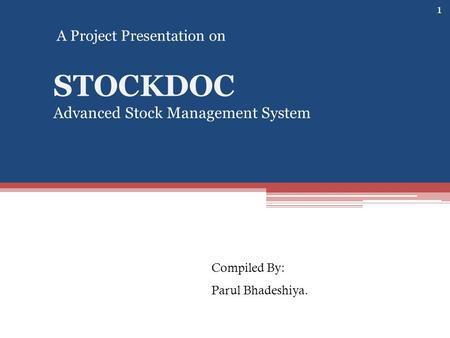 STOCKDOC Advanced Stock Management System