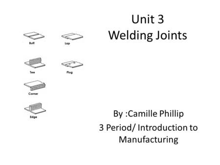 Unit 3 Welding Joints By :Camille Phillip 3 Period/ Introduction to Manufacturing.