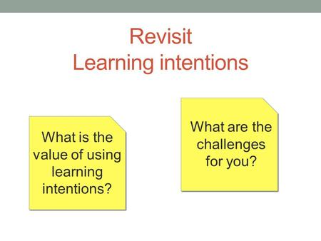 Revisit Learning intentions