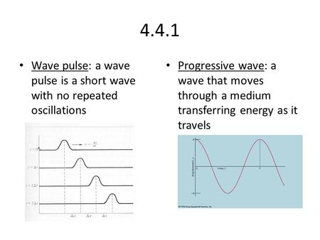 4.4.1 Wave pulse: a wave pulse is a short wave with no repeated oscillations Progressive wave: a wave that moves through a medium transferring energy as.