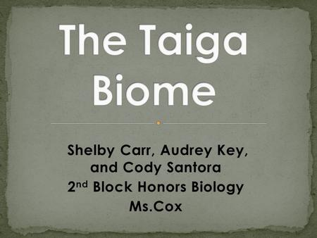 Shelby Carr, Audrey Key, and Cody Santora 2 nd Block Honors Biology Ms.Cox.