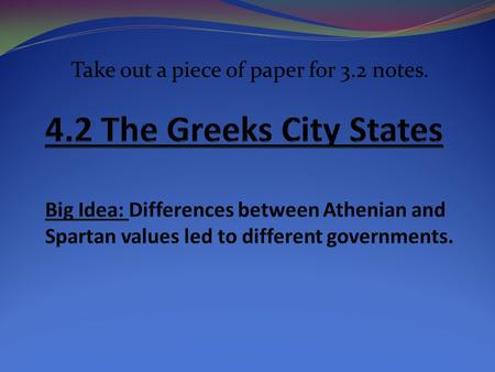 Take out a piece of paper for 3.2 notes.. Polis: The Center of Greek Life City state or polis-city with own economy and government-controlled surrounding.
