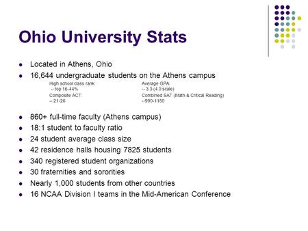 Ohio University Stats Located in Athens, Ohio 16,644 undergraduate students on the Athens campus High school class rank:Average GPA: -- top 16-44% -- 3.3.