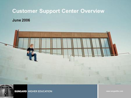 Www.sungardhe.com Customer Support Center Overview June 2006.