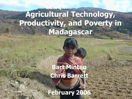 Agricultural Technology, Productivity, and Poverty in Madagascar Bart Minten Chris Barrett February 2006.