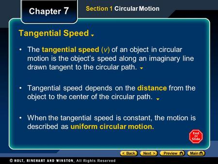 Chapter 7 Tangential Speed