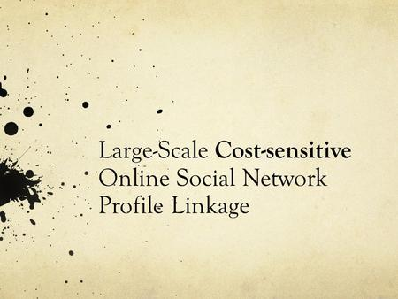 Large-Scale Cost-sensitive Online Social Network Profile Linkage.