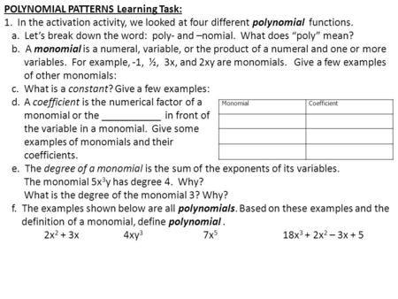 <strong>POLYNOMIAL</strong> PATTERNS Learning Task: 1. In the activation activity, we looked at four different <strong>polynomial</strong> functions. a. Let's break down the word: poly-