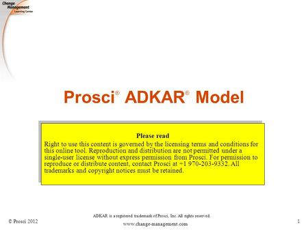 Prosci® ADKAR® Model Please read