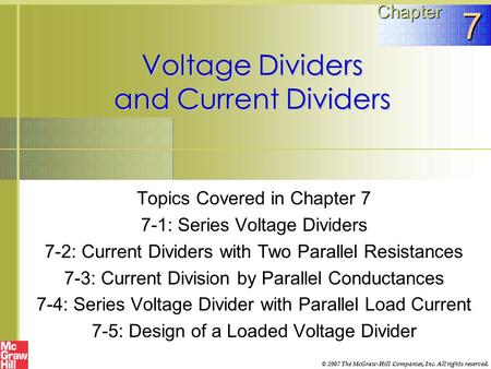 Voltage Dividers and Current Dividers