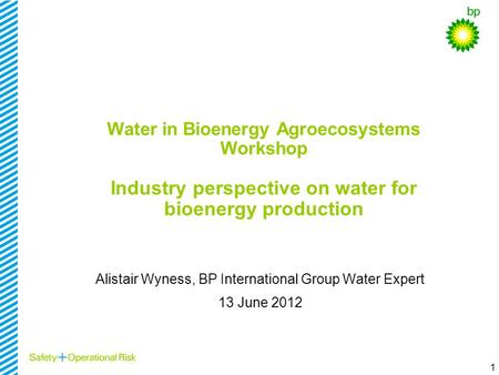 1 Water in Bioenergy Agroecosystems Workshop Industry perspective on water for bioenergy production Alistair Wyness, BP International Group Water Expert.