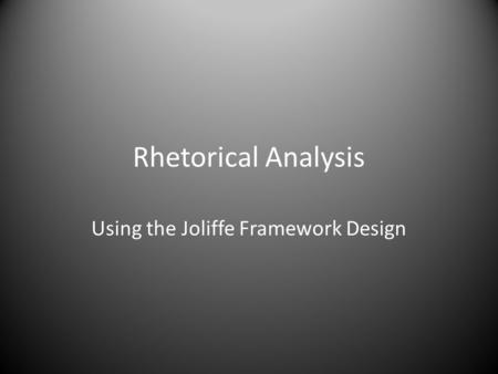 Using the Joliffe Framework Design