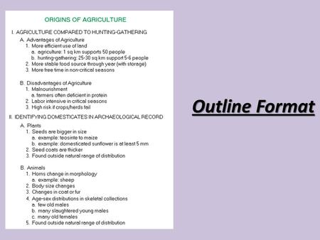 Outline Format Your Will Begin With A Title And Thesis Statement
