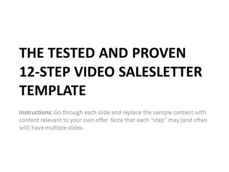 12 Step Fool Proof Sales Letter How To Overcome Hurdles Ppt Download