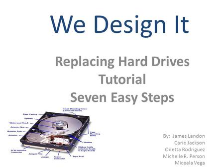 We Design It Replacing Hard Drives Tutorial Seven Easy Steps By: James Landon Carie Jackson Odetta Rodriguez Michelle R. Person Miceala Vega.