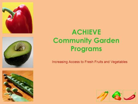 ACHIEVE Community Garden Programs Increasing Access to Fresh Fruits and Vegetables.