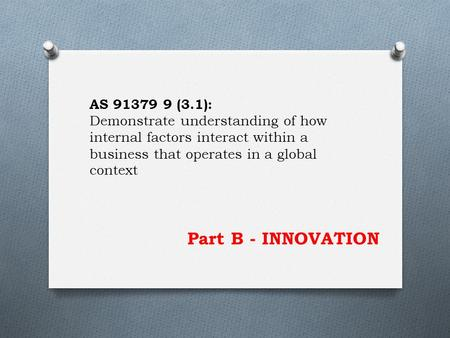 Part B - INNOVATION AS 91379 9 (3.1): Demonstrate understanding of how internal factors interact within a business that operates in a global context.
