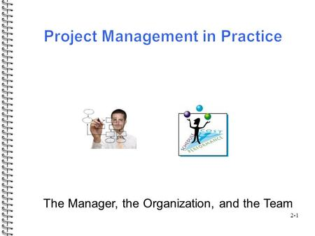 2-1 The Manager, the Organization, and the Team. Outline: 2-2  Selecting the project manager  Roles / responsibilities of a project manager  Project.