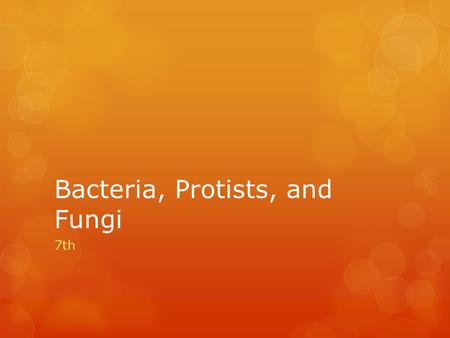 <strong>Bacteria</strong>, Protists, <strong>and</strong> <strong>Fungi</strong> 7th.  <strong>Bacteria</strong> are very small unicellular organisms that do not contain organelles  This makes them prokaryotes  They.