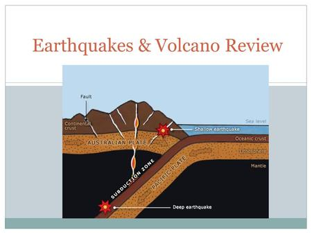 Earthquakes & Volcano Review. 1) What do the dots on the graph represent? Volcanoes Earthquakes.