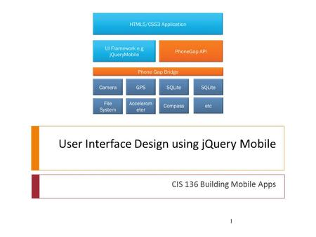 User Interface Design using jQuery Mobile CIS 136 Building Mobile Apps 1.