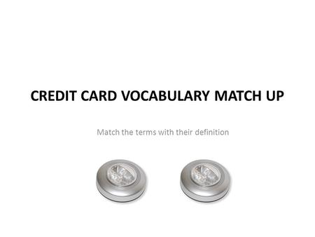 Credit Card vocabulary Match Up