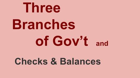 Three Branches of Gov't and Checks & Balances. Legislative Branch... Makes Laws Congress is composed of two parts: the Senate and the House of Representatives.SenateHouse.