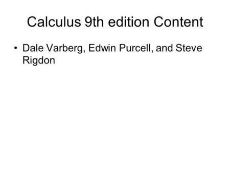 Calculus 9th edition Content