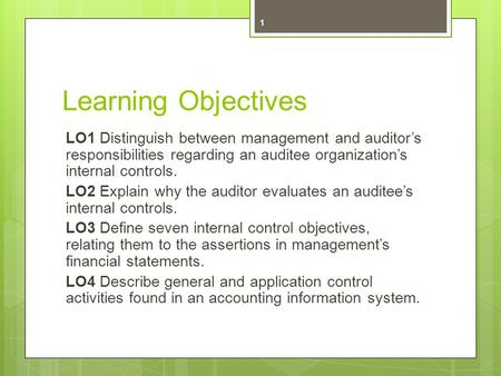 Learning Objectives LO1 Distinguish between management and auditor's responsibilities regarding an auditee organization's internal controls. LO2 Explain.