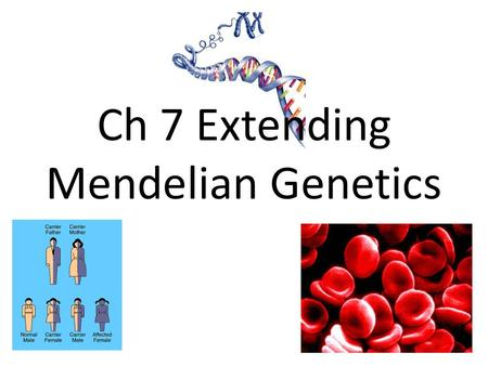 Ch 7 Extending Mendelian Genetics. Studying Human Genetics A pedigree is a chart for tracing <strong>genes</strong> in a family. – Used to determine the chances of offspring.