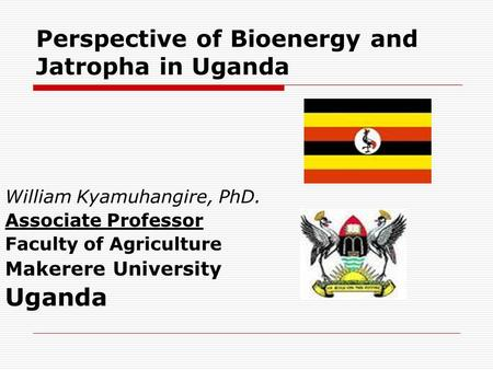 Perspective of Bioenergy and Jatropha in Uganda William Kyamuhangire, PhD. Associate Professor Faculty of Agriculture Makerere University Uganda.