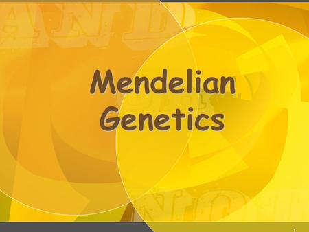 1 Mendelian Genetics 2 Gregor Mendel (1822-1884) Responsible for the Laws governing Inheritance of Traits.