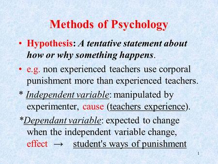 Methods of Psychology Hypothesis: A tentative statement about how or why something happens. e.g. non experienced teachers use corporal punishment more.
