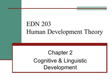 EDN 203 Human Development Theory